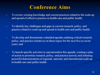 Slide 16. Conference Aims