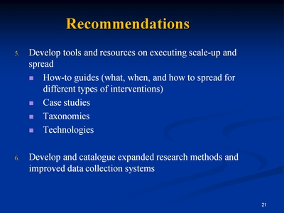 Slide 21. Recommendations