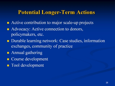 Slide 25. Potential Longer-Term Actions