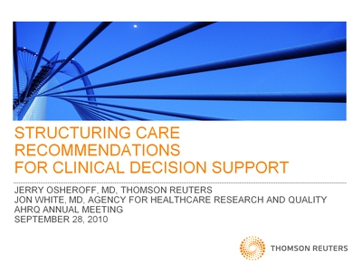 Slide 1. Structuring Recommendations for Clinical Decision Support