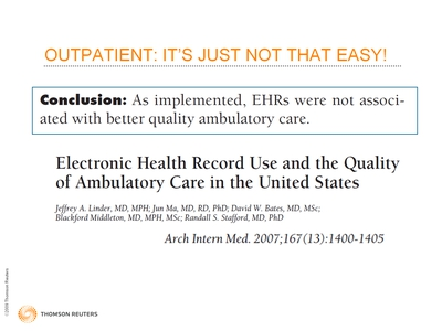 Slide 10. Outpatient: It's Just Not That Easy!