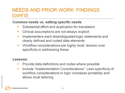 Slide 28. Needs and Prior Work: Findings (cont'd)