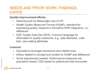 Slide 30. Needs and Prior Work: Findings (cont'd)