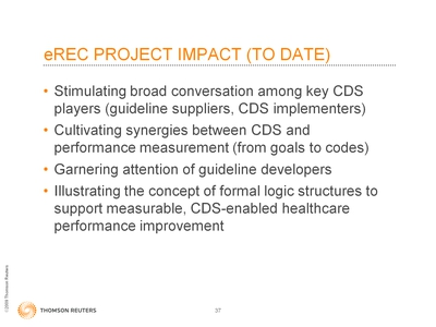 Slide 37. eREC Project Impact (To Date)