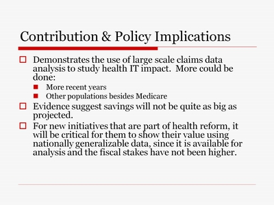 Contribution and Policy Implications