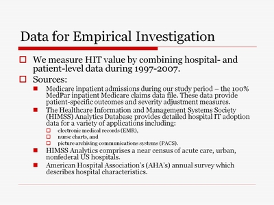 Data for Empirical Investigation