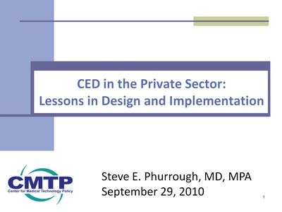 Slide 1. CED in the Private Sector: Lessons in Design and Implementation