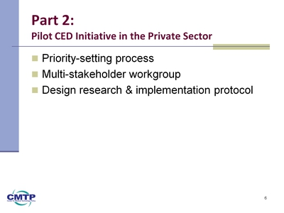 Slide 6. Part 2: Pilot CED Initiative in the Private Sector
