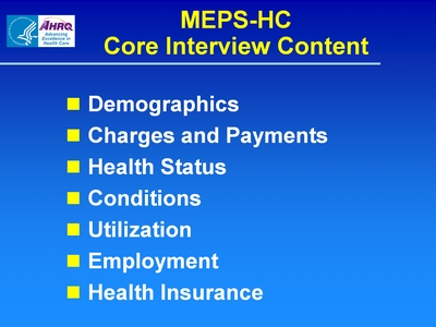 MEPS-HC Core Interview Content