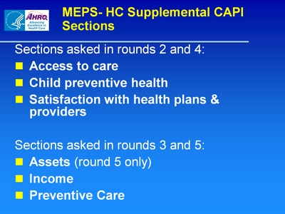 MEPS-HC Supplemental CAPI Sections