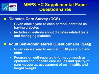 MEPS-HC Supplemental Paper Questionnaires