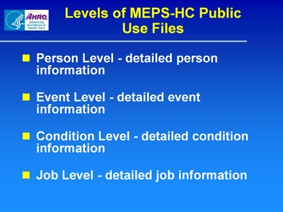 Levels of MEPS-HC Public Use Files