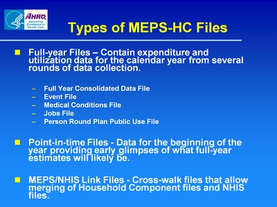 Types of MEPS-HC Files