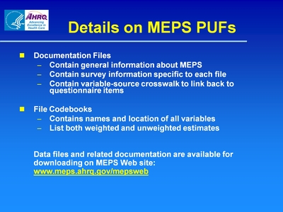 Details on MEPS PUFs