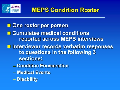 MEPS Condition Roster