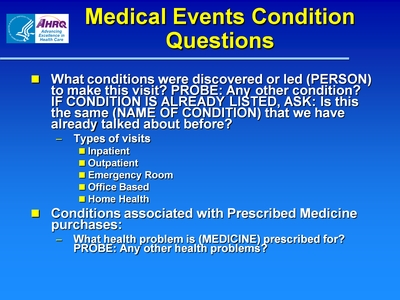 Medical Events Condition Questions