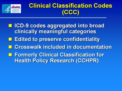 Clinical Classification Codes (CCC)