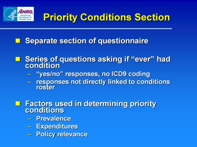 Priority Conditions Section