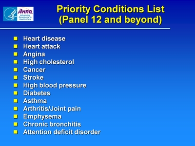 Priority Conditions List (Panel 12 and beyond)