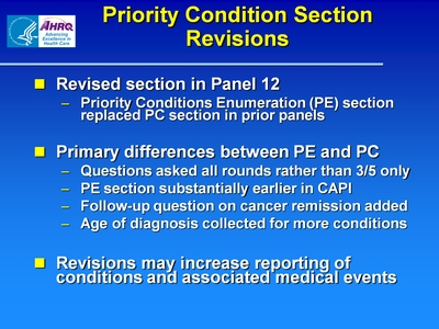 Priority Condition Section Revisions