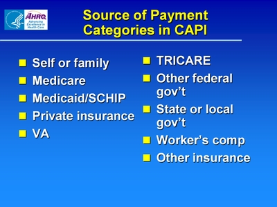 Source of Payment Categories in CAPI