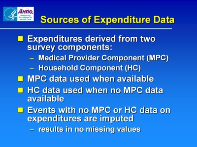 Sources of Expenditure Data
