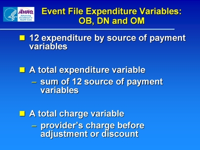 Event File Expenditure Variables: OB, DN and OM