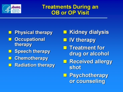 Treatments During an OB or OP Visit