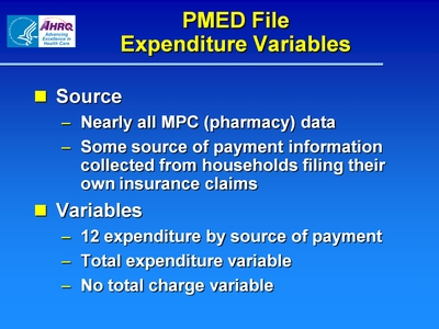 PMED File Expenditure Variables