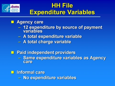 HH File Expenditure Variables