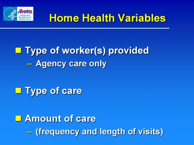 Home Health Variables