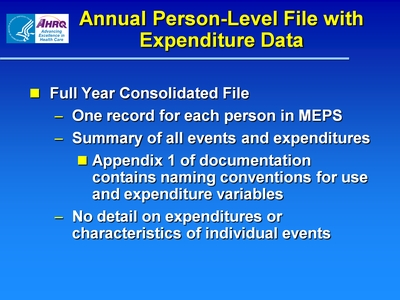Annual Person-Level File with Expenditure Data