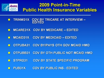2009 Point-in-Time Public Health Insurance Variables
