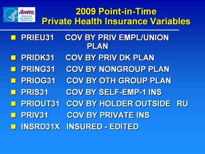 2009 Point-in-Time Private Health Insurance Variables