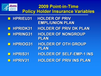 2009 Point-in-Time Policy Holder Insurance Variables