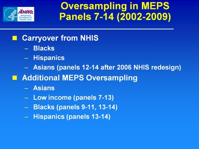 Oversampling in MEPS Panels 7-14 (2002-2009)