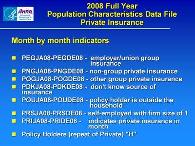 2008 Full Year Population Characteristics Data File Private Insurance