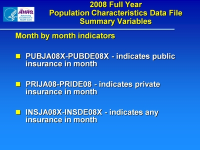 2008 Full Year Population Characteristics Data File Summary Variables