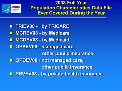 2008 Full Year Population Characteristics Data File Ever Covered During the Year