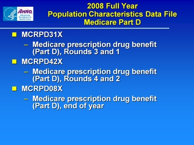 2008 Full Year Population Characteristics Data File Medicare Part D