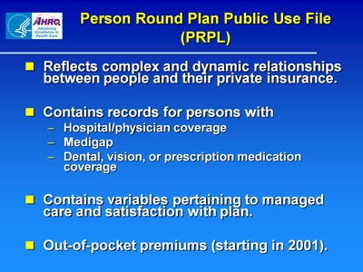 Person Round Plan Public Use File (PRPL)