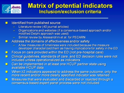 Matrix of potential indicators: Inclusion/exclusion criteria