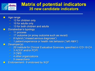 Matrix of potential indicators: 35 new candidate indicators
