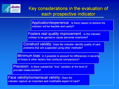 Key considerations in the evaluation of each prospective indicator
