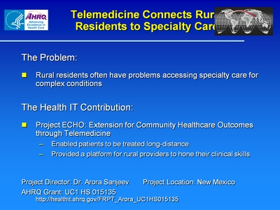 Slide 13. Telemedicine Connects Rural Residents to Specialty Care