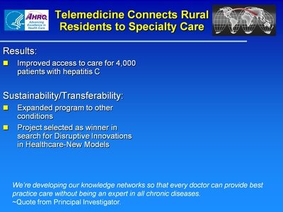 Slide 14. Telemedicine Connects Rural Residents to Specialty Care