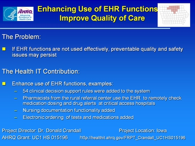 Slide 17. Enhancing Use of EHR Functions to Improve Quality of Care