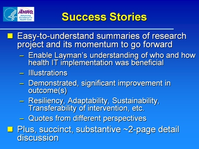Slide 2. Success Stories