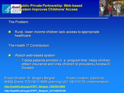 Slide 20. Public-Private Partnership: Web-based System Improves Childrens' Access