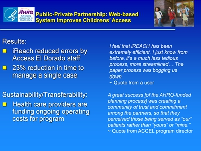 Slide 21. Public-Private Partnership: Web-based System Improves Childrens' Access
